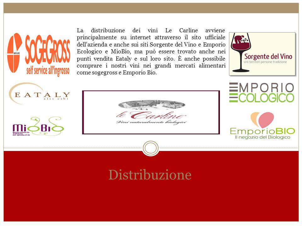 Distribuzione La distribuzione dei vini Le Carline avviene principalmente su internet attraverso il sito ufficiale dell'azienda e anche sui siti Sorge