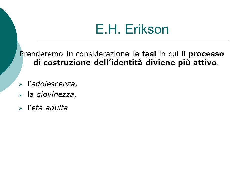 E.H. Erikson Prenderemo in considerazione le fasi in cui il processo di costruzione dell'identità diviene più attivo.  l'adolescenza,  la giovinezza