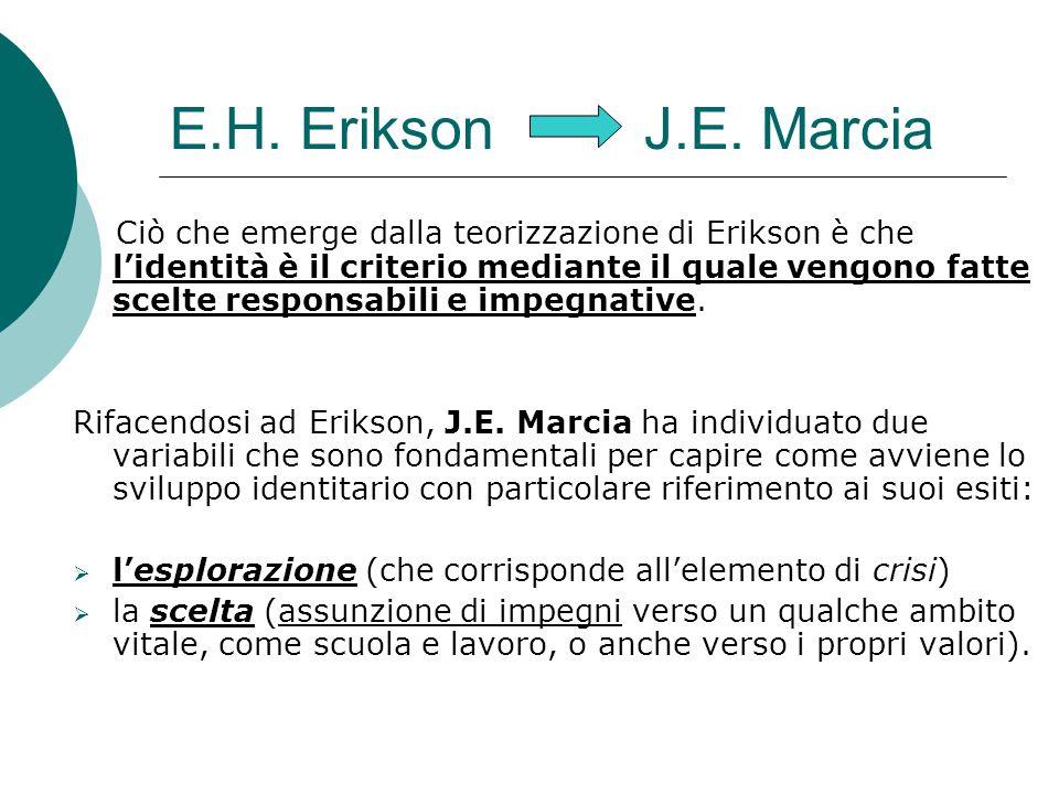 E.H. Erikson J.E. Marcia Ciò che emerge dalla teorizzazione di Erikson è che l'identità è il criterio mediante il quale vengono fatte scelte responsab