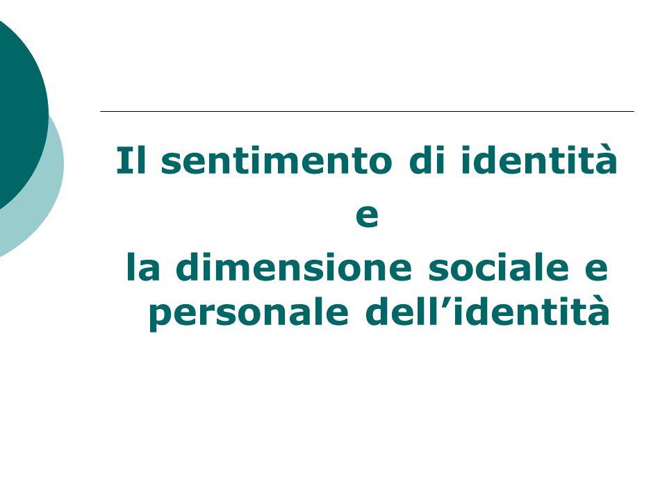 Il sentimento di identità e la dimensione sociale e personale dell'identità
