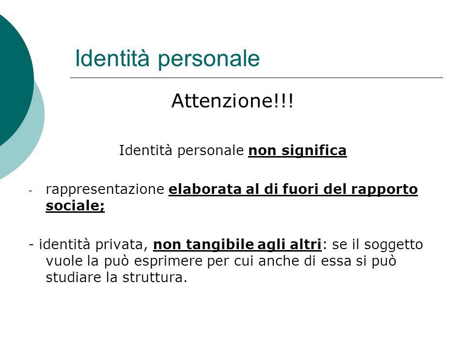 Identità personale Attenzione!!! Identità personale non significa - rappresentazione elaborata al di fuori del rapporto sociale; - identità privata, n