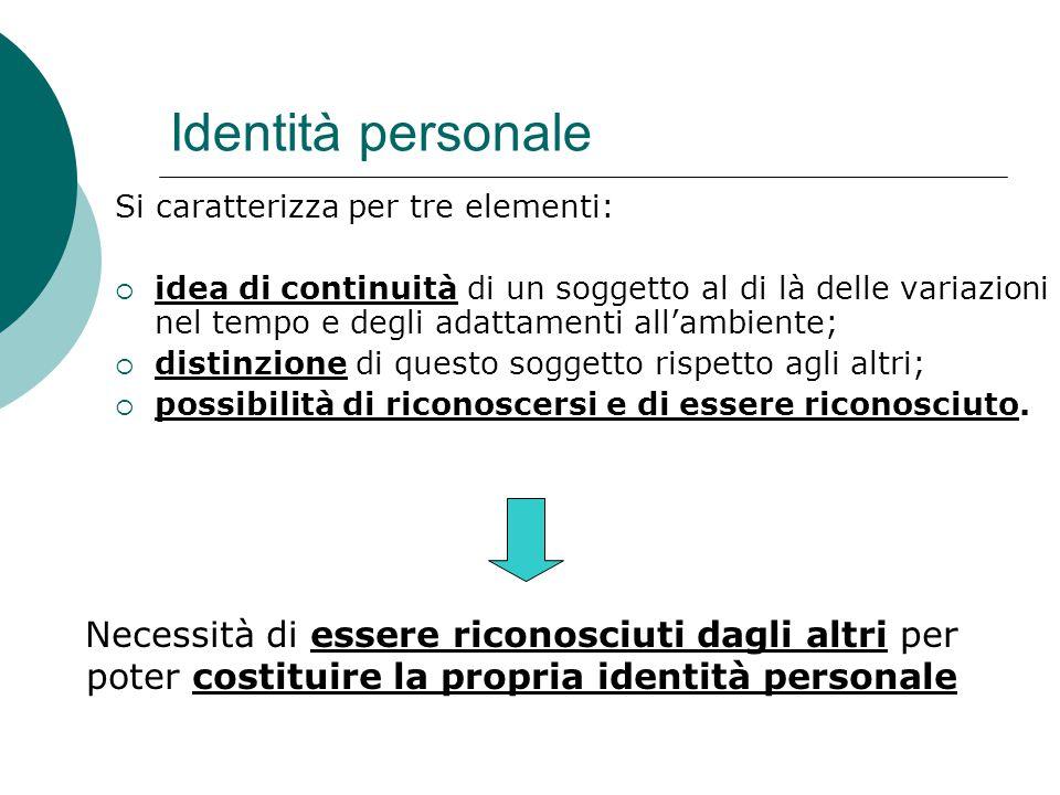 Identità personale Si caratterizza per tre elementi:  idea di continuità di un soggetto al di là delle variazioni nel tempo e degli adattamenti all'a