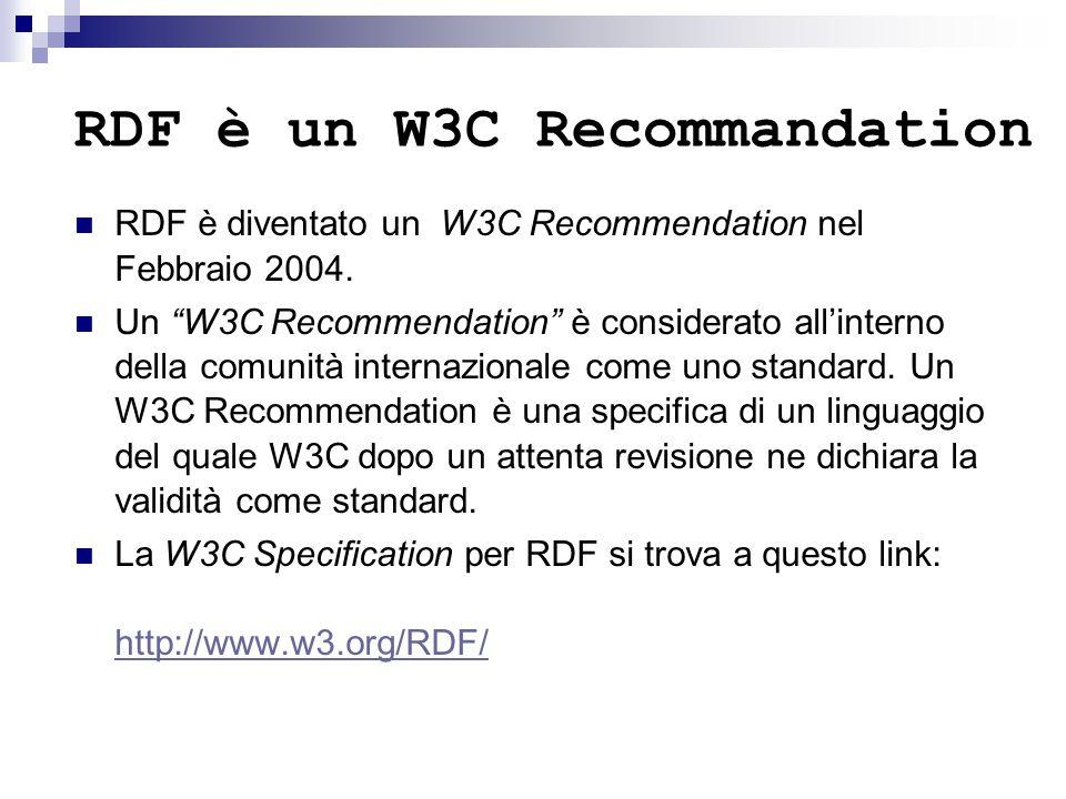 """RDF è un W3C Recommandation RDF è diventato un W3C Recommendation nel Febbraio 2004. Un """"W3C Recommendation"""" è considerato all'interno della comunità"""