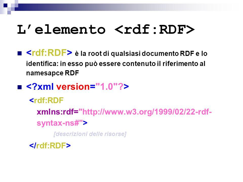 L'elemento è la root di qualsiasi documento RDF e lo identifica: in esso può essere contenuto il riferimento al namesapce RDF [descrizioni delle risor
