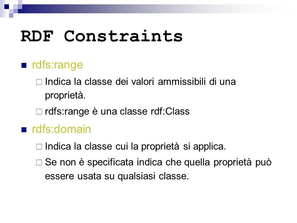 RDF Constraints rdfs:range  Indica la classe dei valori ammissibili di una proprietà.  rdfs:range è una classe rdf:Class rdfs:domain  Indica la cla
