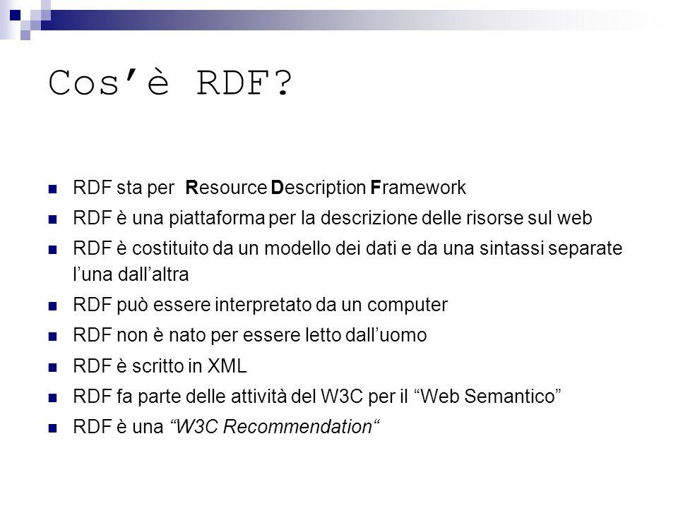 Cos'è RDF? RDF sta per Resource Description Framework RDF è una piattaforma per la descrizione delle risorse sul web RDF è costituito da un modello de