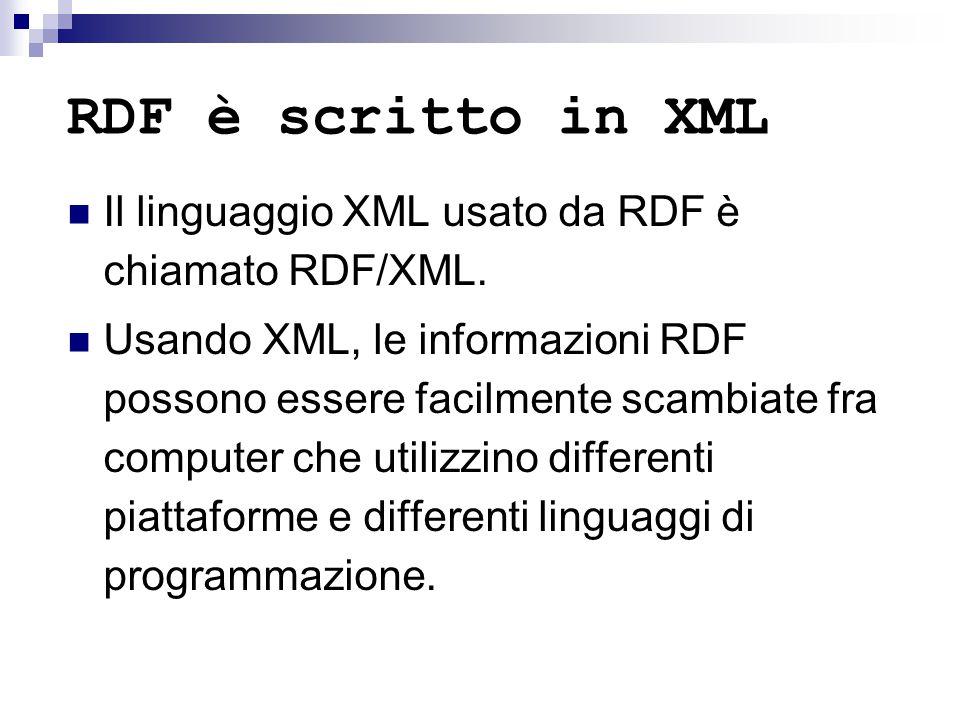 RDF è scritto in XML Il linguaggio XML usato da RDF è chiamato RDF/XML.