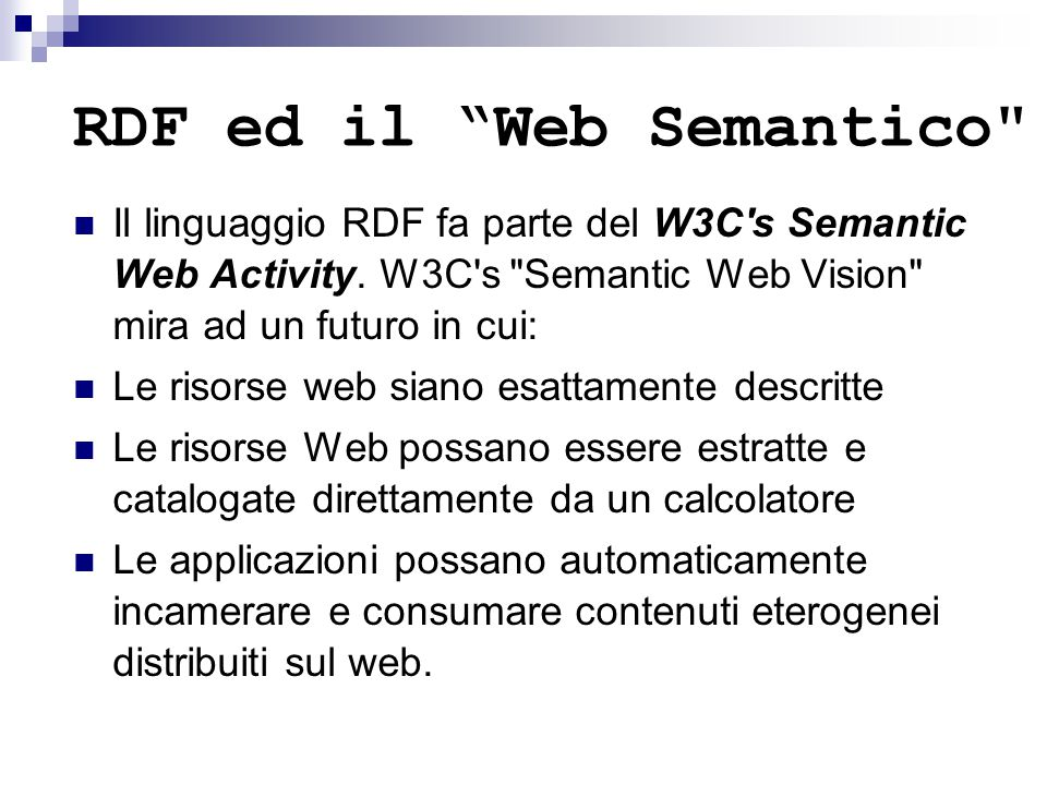 Query su Classi SELECT ?x WHERE { ?x rdf:type rdfs:Class }