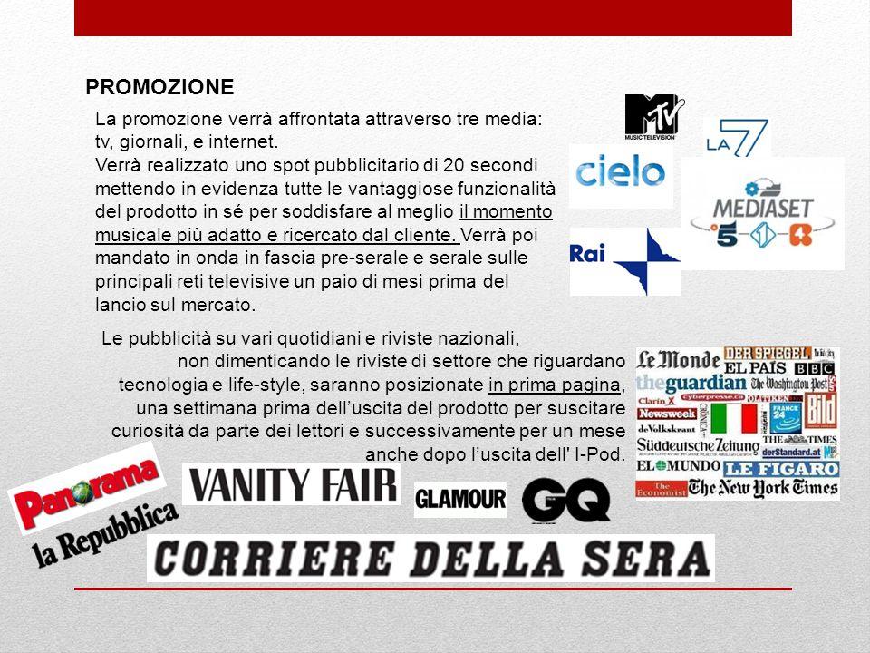 PROMOZIONE La promozione verrà affrontata attraverso tre media: tv, giornali, e internet.