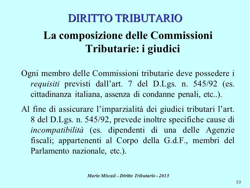 Mario Miscali - Diritto Tributario - 2015 10 DIRITTO TRIBUTARIO La composizione delle Commissioni Tributarie: i giudici Ogni membro delle Commissioni