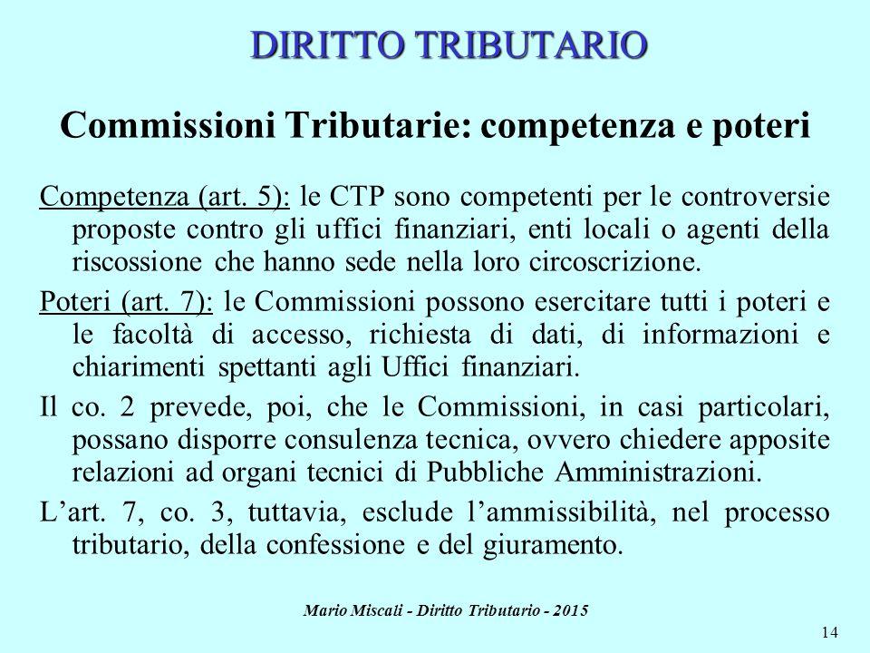 Mario Miscali - Diritto Tributario - 2015 14 DIRITTO TRIBUTARIO Commissioni Tributarie: competenza e poteri Competenza (art. 5): le CTP sono competent