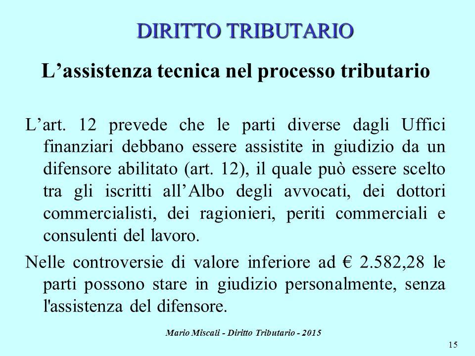 Mario Miscali - Diritto Tributario - 2015 15 L'assistenza tecnica nel processo tributario L'art. 12 prevede che le parti diverse dagli Uffici finanzia