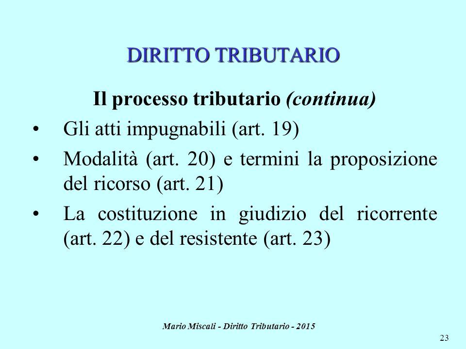 Mario Miscali - Diritto Tributario - 2015 23 DIRITTO TRIBUTARIO Il processo tributario (continua) Gli atti impugnabili (art.