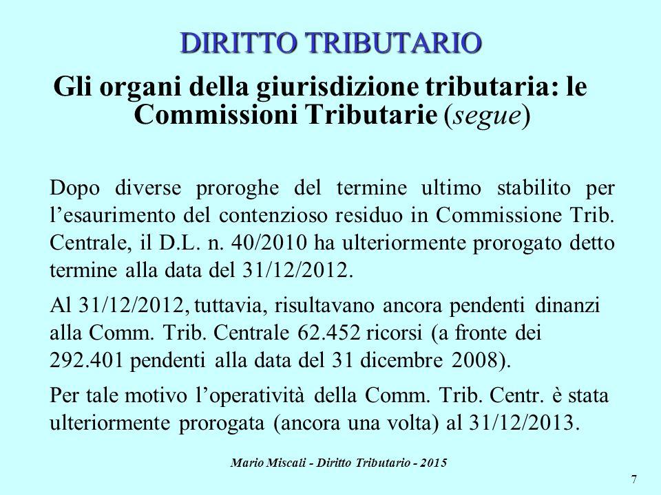 Mario Miscali - Diritto Tributario - 2015 7 DIRITTO TRIBUTARIO Gli organi della giurisdizione tributaria: le Commissioni Tributarie (segue) Dopo diverse proroghe del termine ultimo stabilito per l'esaurimento del contenzioso residuo in Commissione Trib.