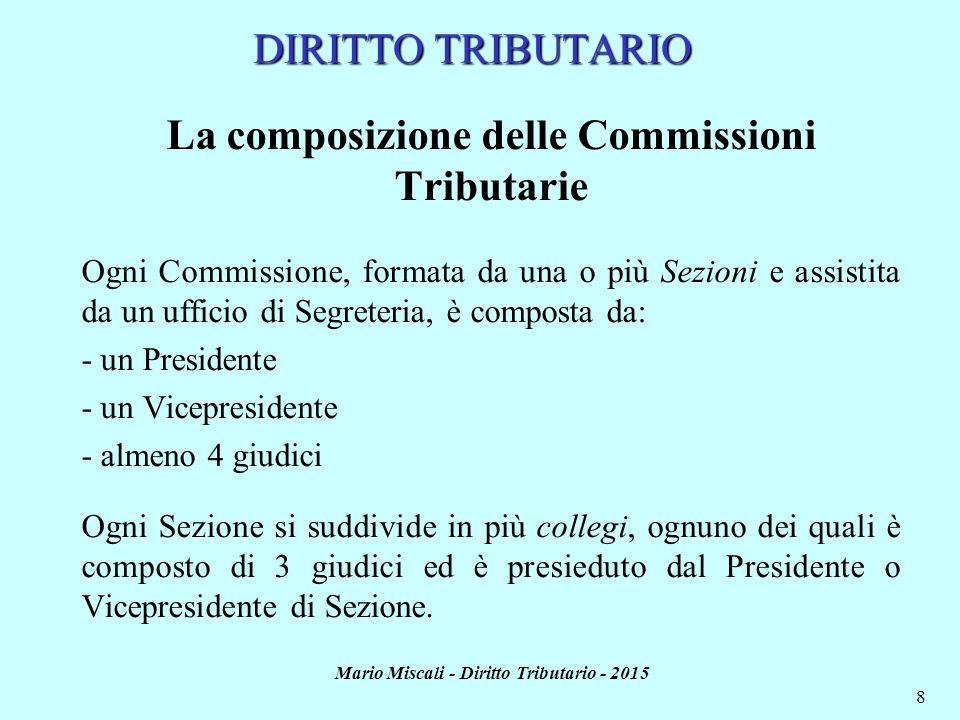 Mario Miscali - Diritto Tributario - 2015 8 DIRITTO TRIBUTARIO La composizione delle Commissioni Tributarie Ogni Commissione, formata da una o più Sez