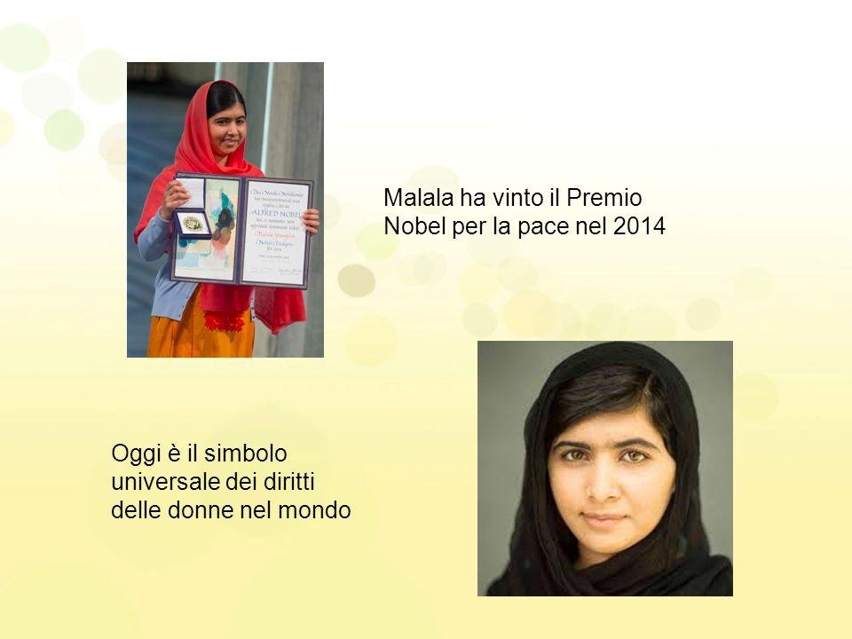 Malala ha vinto il Premio Nobel per la pace nel 2014 Oggi è il simbolo universale dei diritti delle donne nel mondo