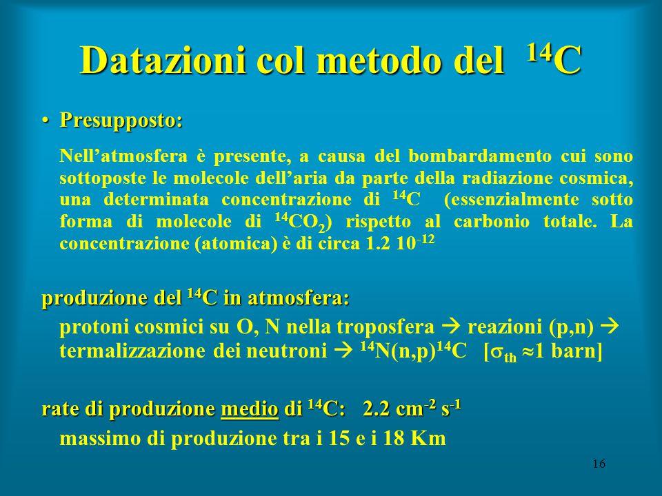 16 Datazioni col metodo del 14 C Presupposto:Presupposto: Nell'atmosfera è presente, a causa del bombardamento cui sono sottoposte le molecole dell'aria da parte della radiazione cosmica, una determinata concentrazione di 14 C (essenzialmente sotto forma di molecole di 14 CO 2 ) rispetto al carbonio totale.