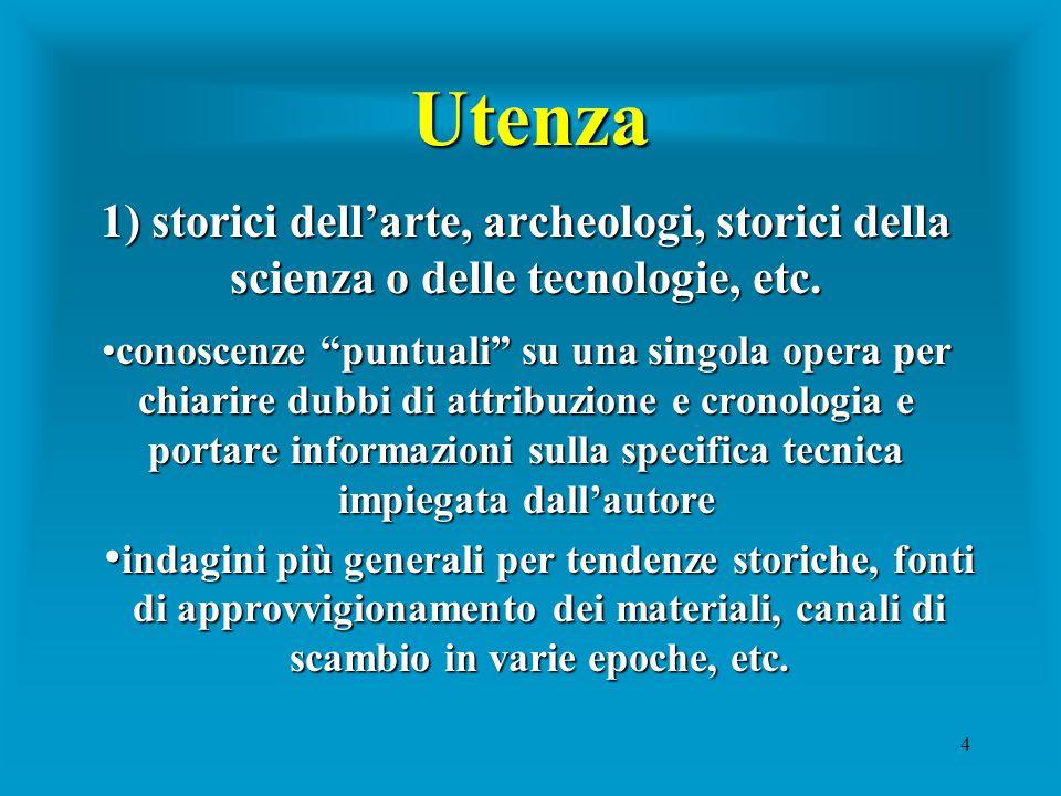 4 Utenza 1)storici dell'arte, archeologi, storici della scienza o delle tecnologie, etc.