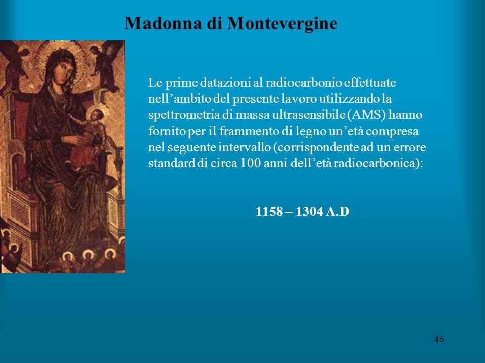 46 Madonna di Montevergine Le prime datazioni al radiocarbonio effettuate nell'ambito del presente lavoro utilizzando la spettrometria di massa ultrasensibile (AMS) hanno fornito per il frammento di legno un'età compresa nel seguente intervallo (corrispondente ad un errore standard di circa 100 anni dell'età radiocarbonica): 1158 – 1304 A.D