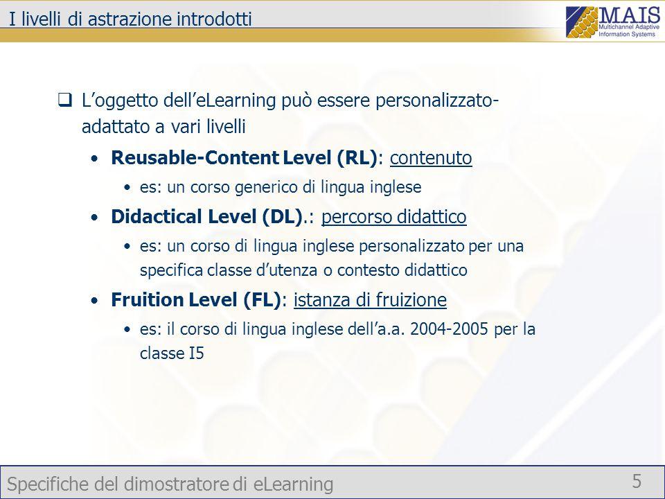 Specifiche del dimostratore di eLearning 5 I livelli di astrazione introdotti  L'oggetto dell'eLearning può essere personalizzato- adattato a vari livelli Reusable-Content Level (RL): contenuto es: un corso generico di lingua inglese Didactical Level (DL).: percorso didattico es: un corso di lingua inglese personalizzato per una specifica classe d'utenza o contesto didattico Fruition Level (FL): istanza di fruizione es: il corso di lingua inglese dell'a.a.