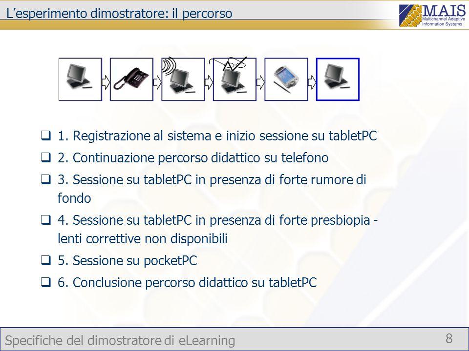 Specifiche del dimostratore di eLearning 8 L'esperimento dimostratore: il percorso  1.