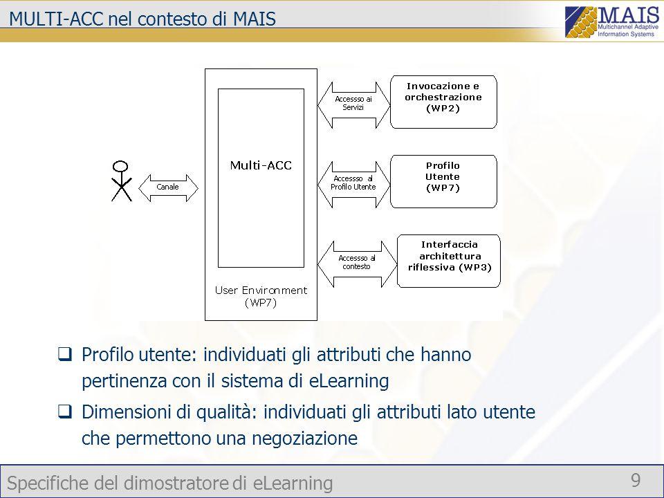 Specifiche del dimostratore di eLearning 9 MULTI-ACC nel contesto di MAIS  Profilo utente: individuati gli attributi che hanno pertinenza con il sistema di eLearning  Dimensioni di qualità: individuati gli attributi lato utente che permettono una negoziazione