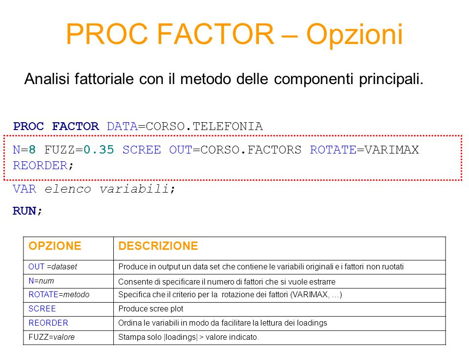 PROC FACTOR – Opzioni PROC FACTOR DATA=CORSO.TELEFONIA N=8 FUZZ=0.35 SCREE OUT=CORSO.FACTORS ROTATE=VARIMAX REORDER; VAR elenco variabili; RUN; OPZION