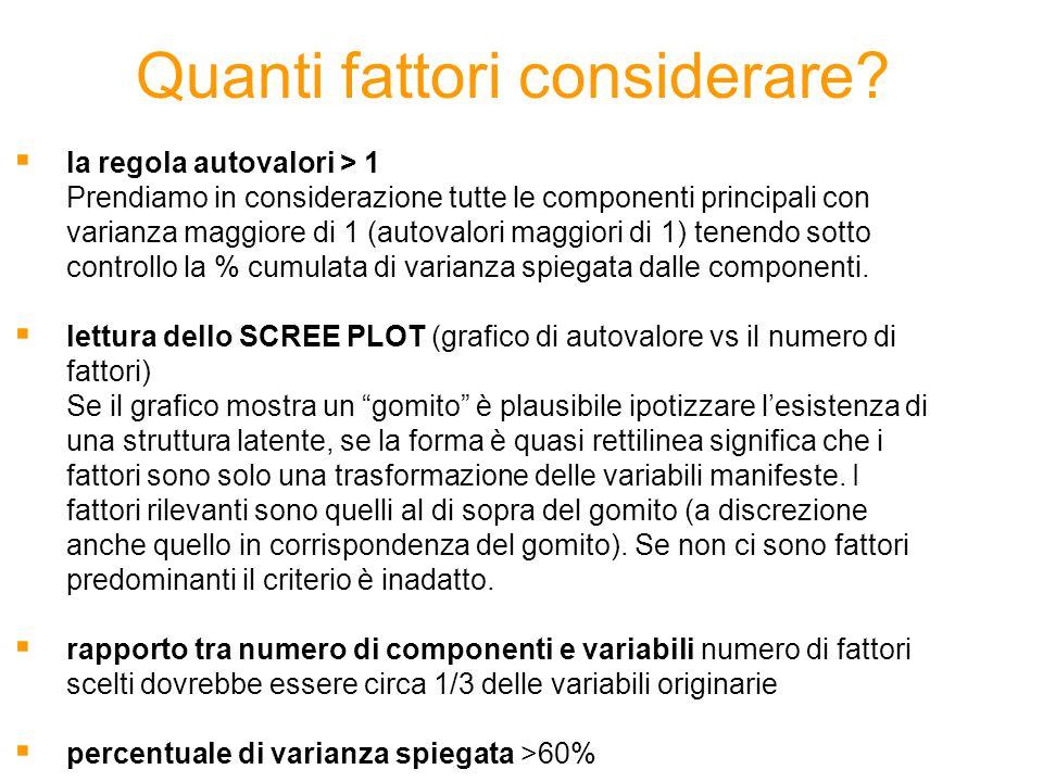 Quanti fattori considerare?  la regola autovalori > 1 Prendiamo in considerazione tutte le componenti principali con varianza maggiore di 1 (autovalo