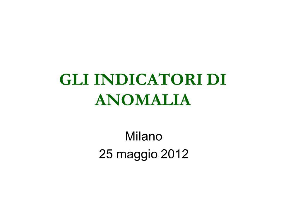 GLI INDICATORI DI ANOMALIA Milano 25 maggio 2012