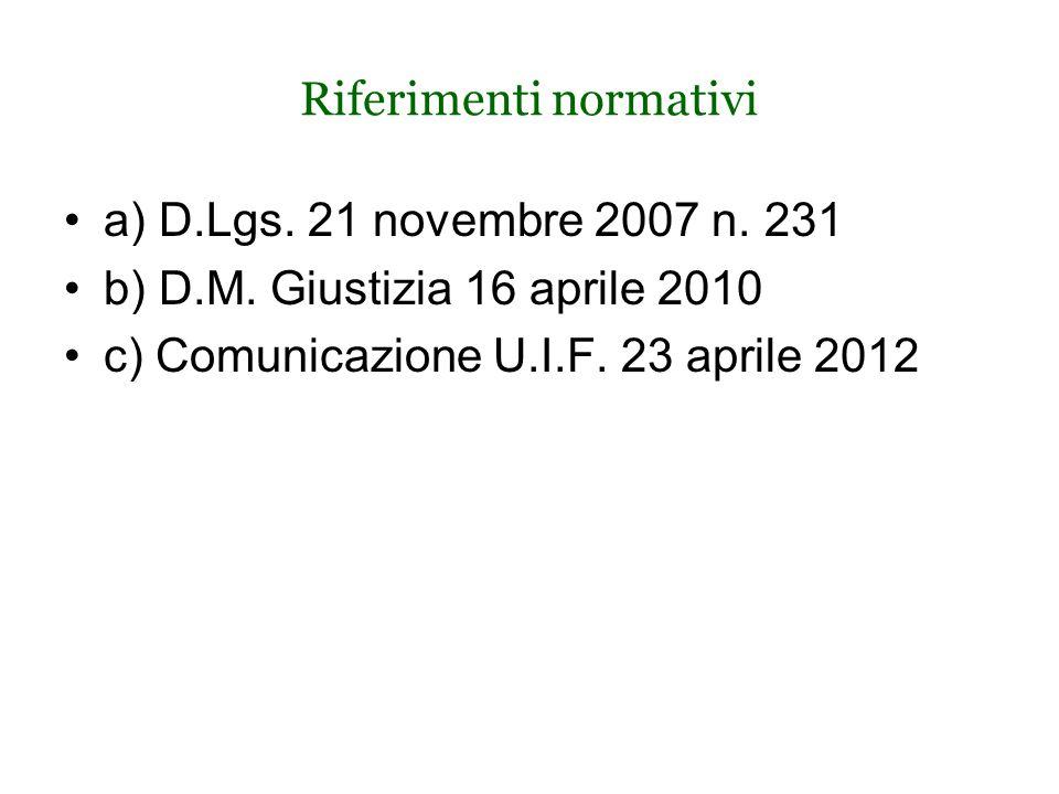 Riferimenti normativi a) D.Lgs. 21 novembre 2007 n.