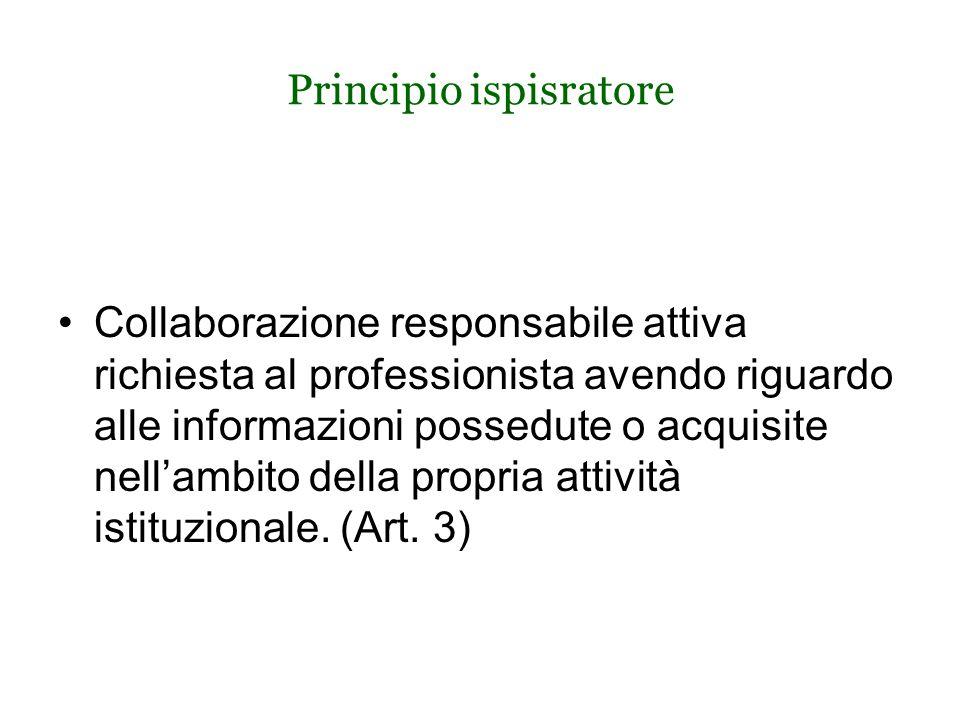 Principio ispisratore Collaborazione responsabile attiva richiesta al professionista avendo riguardo alle informazioni possedute o acquisite nell'ambito della propria attività istituzionale.
