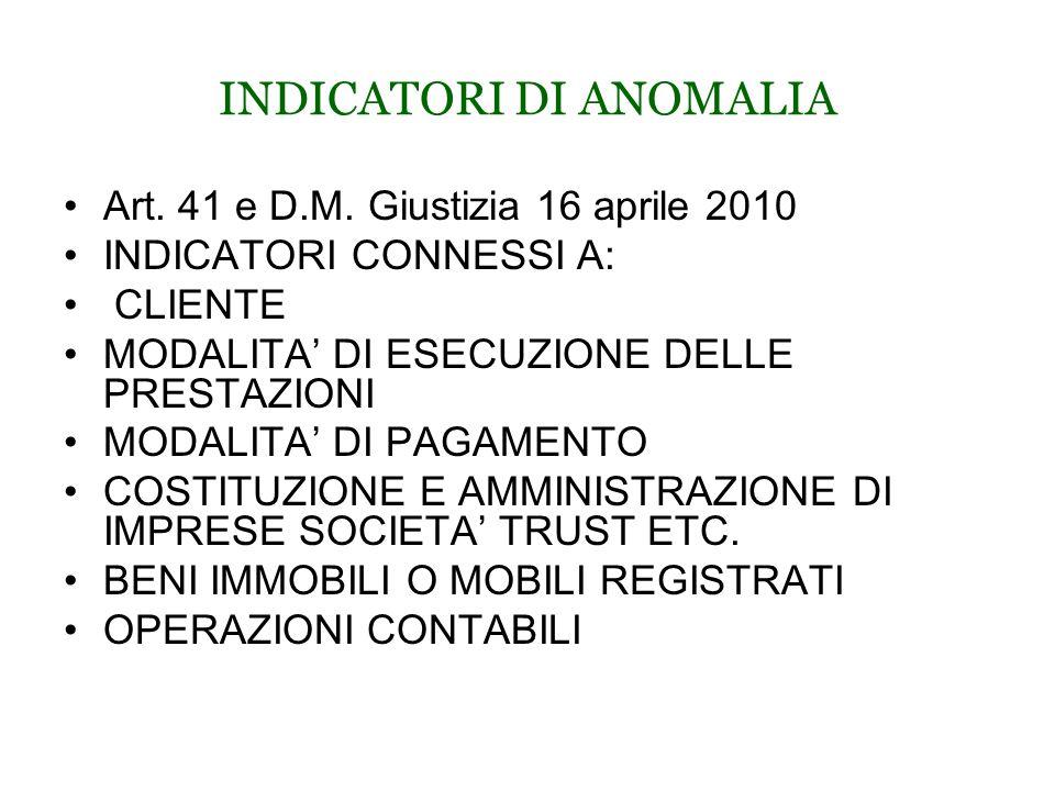 INDICATORI DI ANOMALIA Art. 41 e D.M.