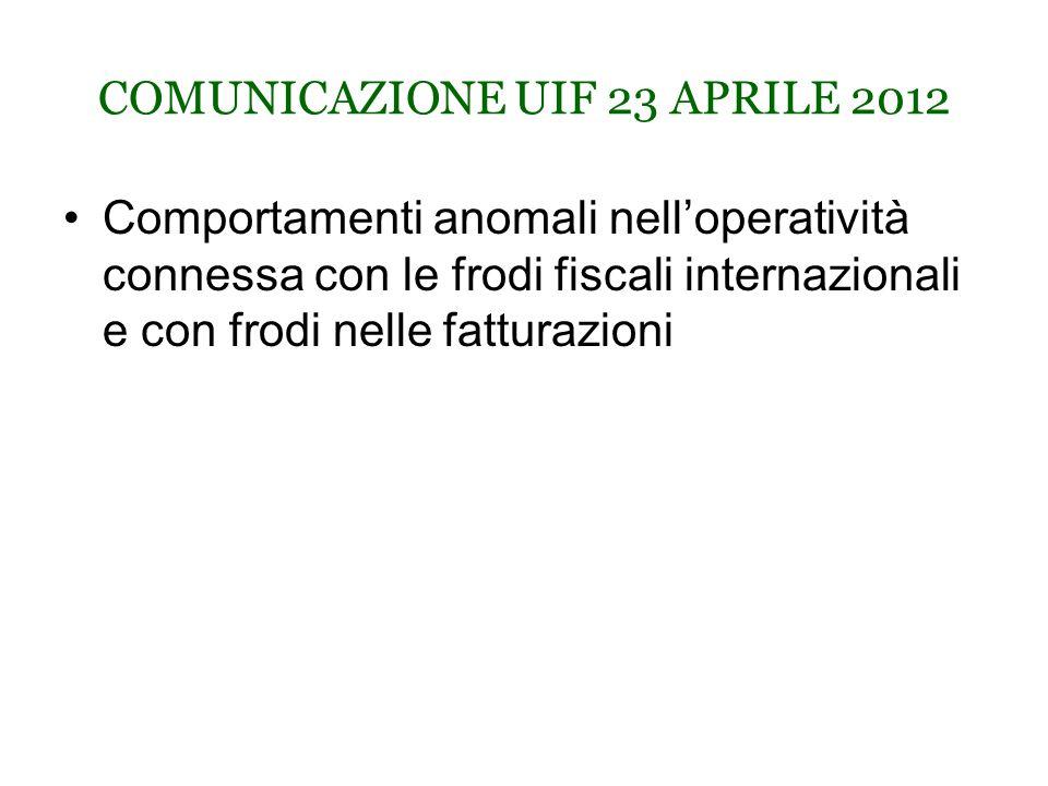 COMUNICAZIONE UIF 23 APRILE 2012 Comportamenti anomali nell'operatività connessa con le frodi fiscali internazionali e con frodi nelle fatturazioni