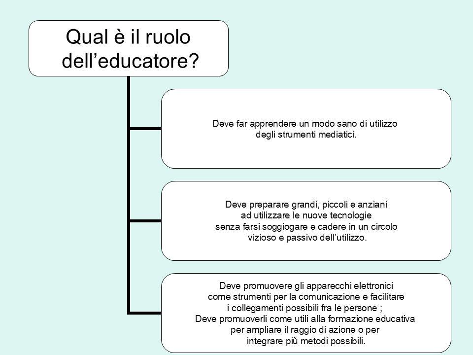 Qual è il ruolo dell'educatore? Deve far apprendere un modo sano di utilizzo degli strumenti mediatici. Deve preparare grandi, piccoli e anziani ad ut