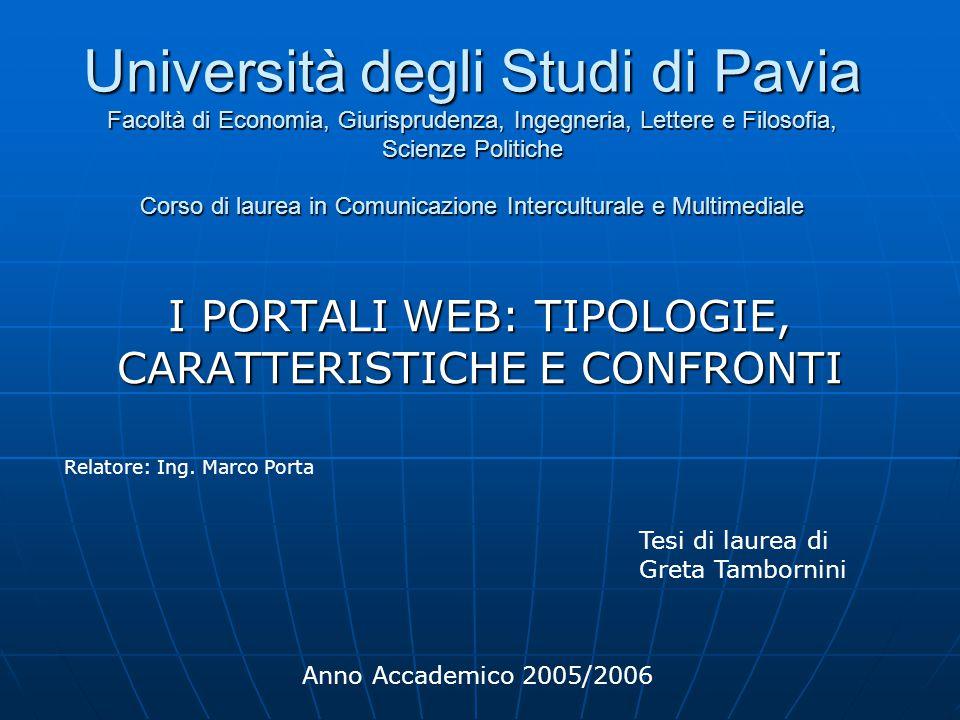 Università degli Studi di Pavia Facoltà di Economia, Giurisprudenza, Ingegneria, Lettere e Filosofia, Scienze Politiche Corso di laurea in Comunicazio