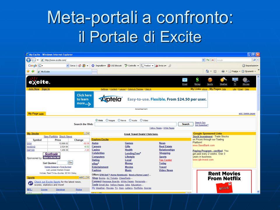 Meta-portali a confronto: il Portale di Excite