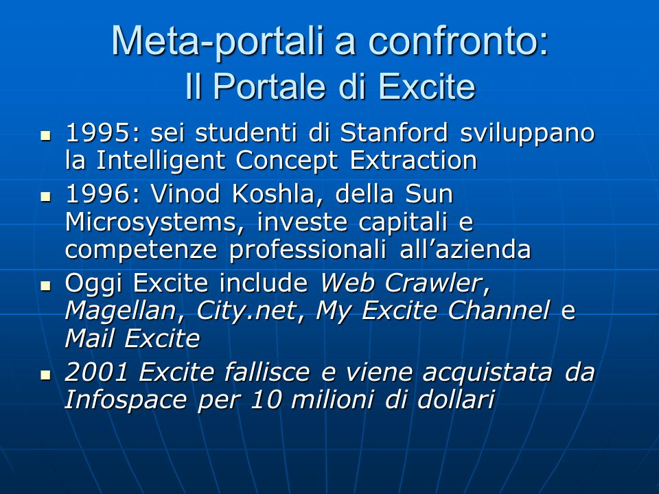 Meta-portali a confronto: Il Portale di Excite 1995: sei studenti di Stanford sviluppano la Intelligent Concept Extraction 1995: sei studenti di Stanford sviluppano la Intelligent Concept Extraction 1996: Vinod Koshla, della Sun Microsystems, investe capitali e competenze professionali all'azienda 1996: Vinod Koshla, della Sun Microsystems, investe capitali e competenze professionali all'azienda Oggi Excite include Web Crawler, Magellan, City.net, My Excite Channel e Mail Excite Oggi Excite include Web Crawler, Magellan, City.net, My Excite Channel e Mail Excite 2001 Excite fallisce e viene acquistata da Infospace per 10 milioni di dollari 2001 Excite fallisce e viene acquistata da Infospace per 10 milioni di dollari