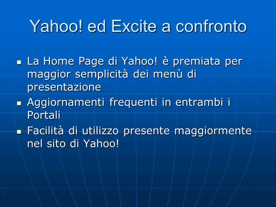 Yahoo! ed Excite a confronto La Home Page di Yahoo! è premiata per maggior semplicità dei menù di presentazione La Home Page di Yahoo! è premiata per