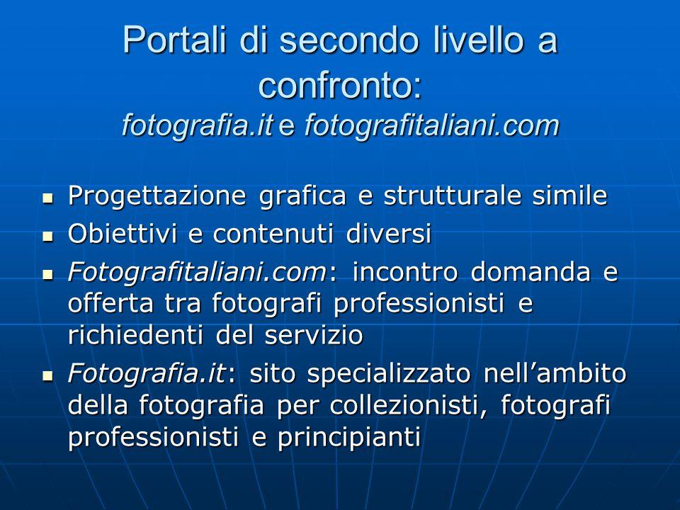 Portali di secondo livello a confronto: fotografia.it e fotografitaliani.com Progettazione grafica e strutturale simile Progettazione grafica e strutt