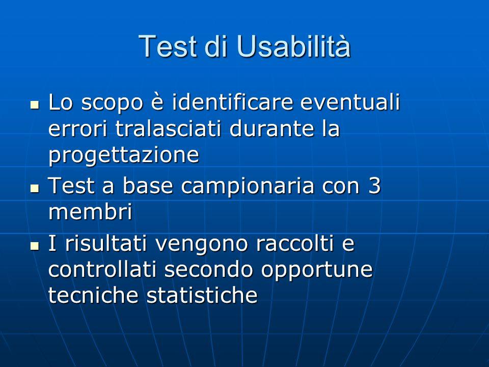 Test di Usabilità Lo scopo è identificare eventuali errori tralasciati durante la progettazione Lo scopo è identificare eventuali errori tralasciati d