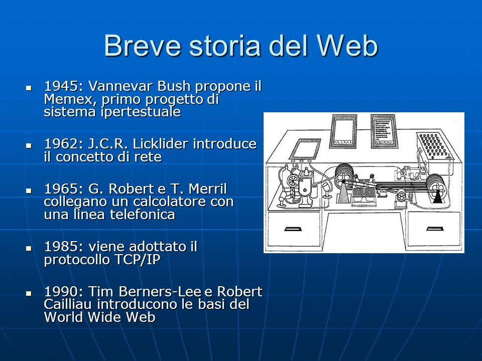 Breve storia del Web 1945: Vannevar Bush propone il Memex, primo progetto di sistema ipertestuale 1945: Vannevar Bush propone il Memex, primo progetto di sistema ipertestuale 1962: J.C.R.