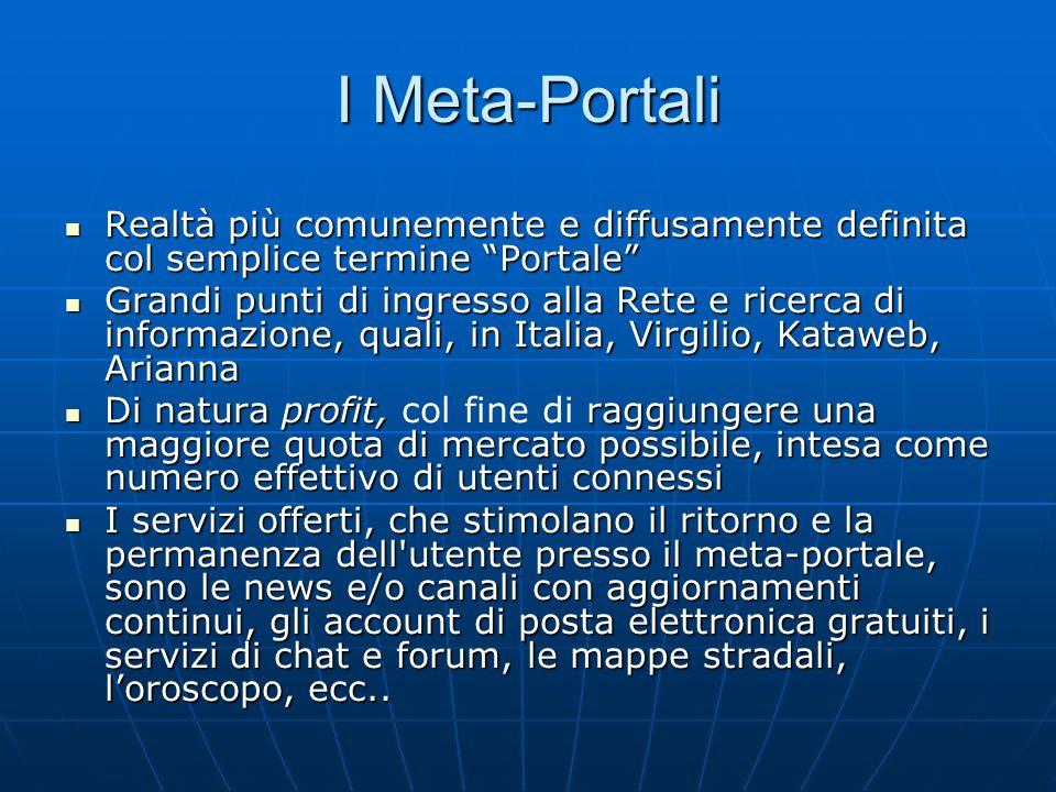"""I Meta-Portali Realtà più comunemente e diffusamente definita col semplice termine """"Portale"""" Realtà più comunemente e diffusamente definita col sempli"""