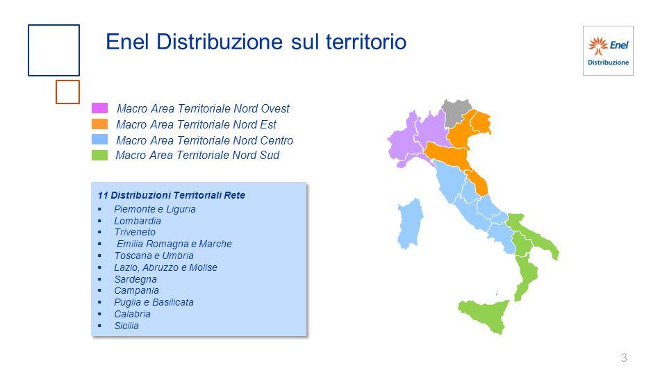 3 Enel Distribuzione sul territorio Macro Area Territoriale Nord Ovest Macro Area Territoriale Nord Est Macro Area Territoriale Nord Centro Macro Area