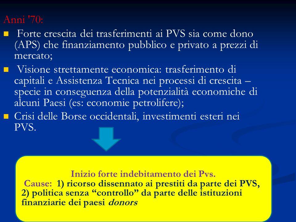 Anni '70: Forte crescita dei trasferimenti ai PVS sia come dono (APS) che finanziamento pubblico e privato a prezzi di mercato; Visione strettamente e