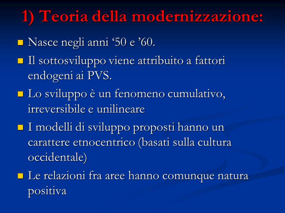 1) Teoria della modernizzazione: Nasce negli anni '50 e '60. Nasce negli anni '50 e '60. Il sottosviluppo viene attribuito a fattori endogeni ai PVS.