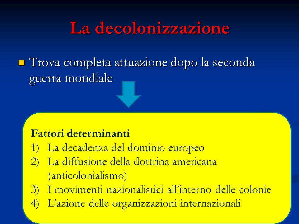 La decolonizzazione Trova completa attuazione dopo la seconda guerra mondiale Trova completa attuazione dopo la seconda guerra mondiale Fattori determ