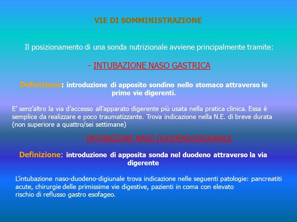 VIE DI SOMMINISTRAZIONE Il posizionamento di una sonda nutrizionale avviene principalmente tramite: - INTUBAZIONE NASO GASTRICA Definizione: introduzione di apposito sondino nello stomaco attraverso le prime vie digerenti.