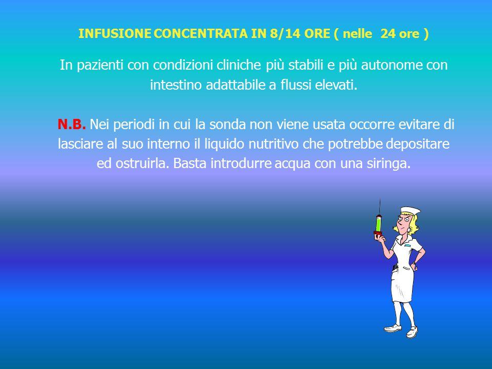 INFUSIONE CONCENTRATA IN 8/14 ORE ( nelle 24 ore ) In pazienti con condizioni cliniche più stabili e più autonome con intestino adattabile a flussi elevati.