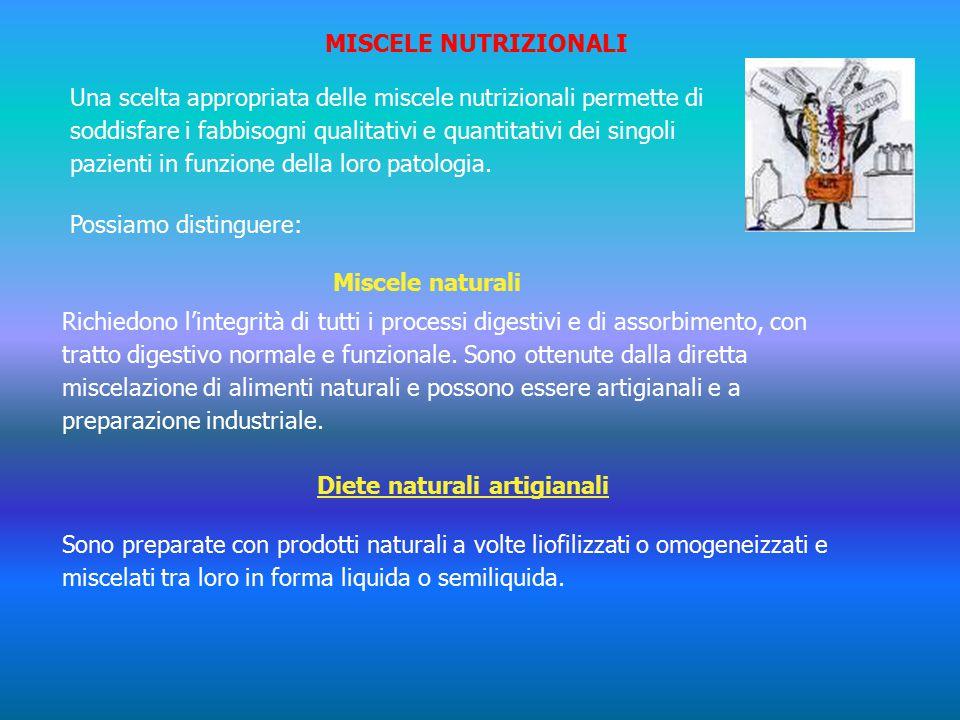 MISCELE NUTRIZIONALI Una scelta appropriata delle miscele nutrizionali permette di soddisfare i fabbisogni qualitativi e quantitativi dei singoli pazienti in funzione della loro patologia.