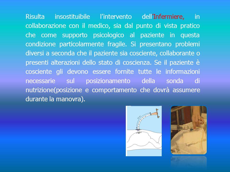 Risulta insostituibile l'intervento dell'Infermiere, in collaborazione con il medico, sia dal punto di vista pratico che come supporto psicologico al